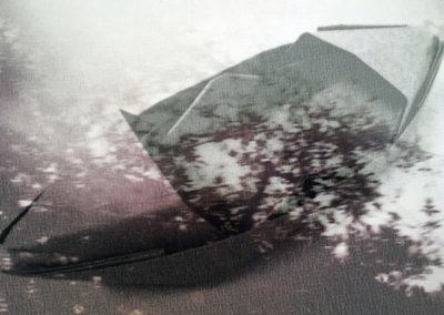 Federica Gonnelli, La Terza Sponda – Viaggio (dettaglio), assemblaggio di immagine digitale stampata su organza e carta e filo di cotone 21x29.7 cm e microscultura di ferro zincato saldato, 3x18x5 cm, 2017. Foto Federica Gonnelli